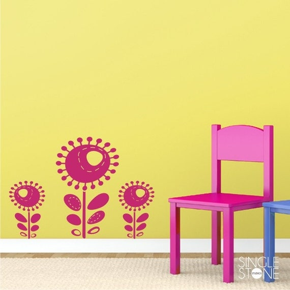Funky Flowers Wall Decals - Nursery Vinyl Stickers Art