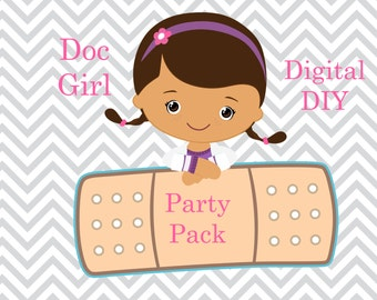 DIY Instant Download Printable Doc Girl Inspired  Small Party Pack