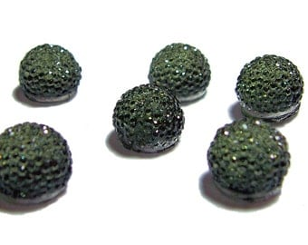 13mm flatback ball cabochon resin rhinestone half bead in Sage Green 6pcs