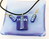 Blue fused glass CROSS pendant or earrings - dichroic fused glass jewelry - OOAK (2850, 2852)