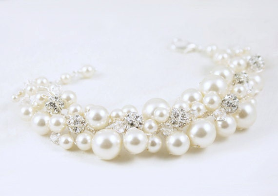 Wedding Jewelry Pearl Bracelet with Rhinestone Fireballs and Swarovski Crystals Bridal Bridesmaid Maid of HOnor