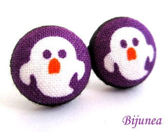 Ghost earrings - Orange ghost stud earrings - Ghost studs - Ghost posts - Halloween ghost earrings sf1061