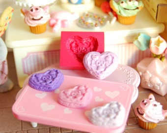 Love cookie Heart shaped cookie1 Mold/Mould for Resin, Polymer clay, Air dry Clay 1,8 cm x 1,6 cm x 0,4 thickness