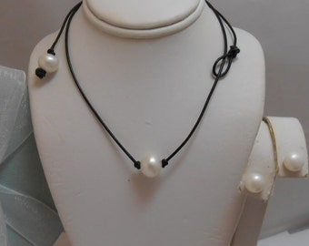 Petite Solitaire  Genuine White Pearl Necklace with Pearl toggle clasp and earrings set on Leather