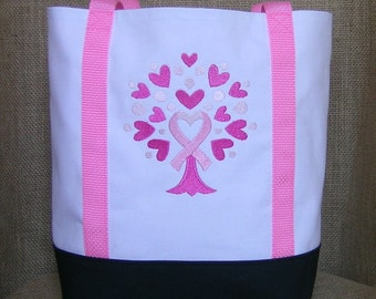 Breast Cancer Awareness Tote Bag, Embroidered Awareness Tote Bag, Awareness Tote Bag, Awareness