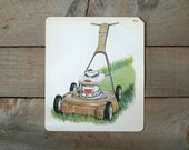 Vintage Flash Card, Vintage Gardening Flash Card, Lawn Mower, Home Decor, Wall Hanging, Father's Day
