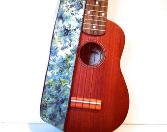 Vegan Ukulele Strap-River Song-LIMITED Pattern-music-gifts for musicians-handmade-canvas-unique gifts-boyfriends-girlfriends