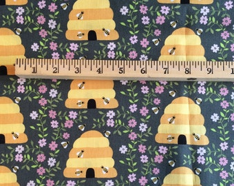Beehive Dark Cotton Fabric // 1canoe2