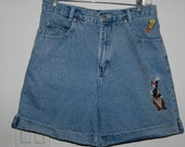 Vintage 90s Looney Tunes Denim Shorts Sylvester Tweety Bird Taz Size 10