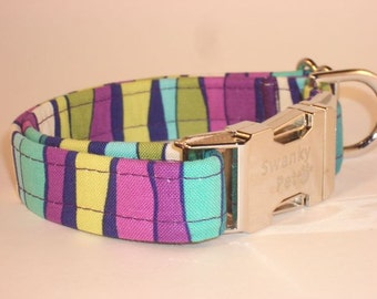 Ripple Effect - Colorful Striped Dog Collar by Swanky Pet!
