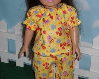 """Yellow Pajamas for American Girl 18"""" Doll Handmade"""