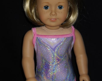 American Girl 18 inch Doll Swimsuit  Handmade Shimmery Marbled Fabric