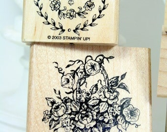Stampin' Up! Mempry of the Heart Set of Six 2003 Wood Mounted Rubber Stamps