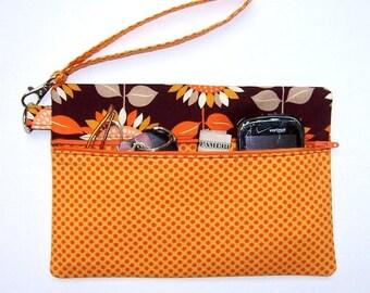 Orange Gold Polka Dot Wristlet, Brown Sunflower Clutch, Wrist Wallet, Floral Sunflower Makeup Case, Zippered Phone Bag, Camera Bag
