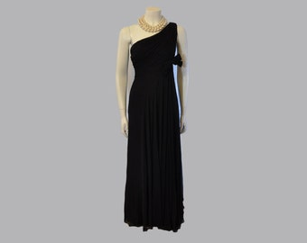50s dress / Draped Goddess Vintage 1950's Chiffon One Shoulder Dress