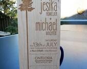 Custom engraved wood invitations