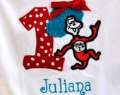 Thing 1 Dr. Suess birthday shirt personalized with child's name