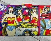 Handmade Long Wallet  BiFold Clutch - Vegan Wallet -  WW allover Girl Super Hero wallet
