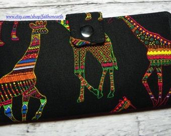 Handmade Long Wallet  BiFold Clutch - Vegan Wallet - African Giraffe