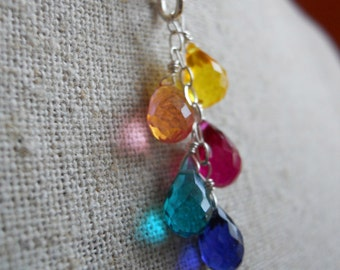 Rainbow necklace , Goody Goody Gumdrops, Multicolor Necklace, Rainbow Teardrop Necklace, Rainbow Jewelry, Cluster Necklace, Gemstone Necklac