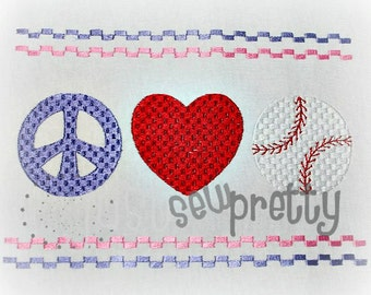 Peace Love Baseball Machine Smocked Embroidery Design