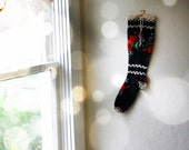Vintage Scandinavian Stocking -- Knit Black Wool with Roses
