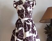 "Summer wrap dress 50""s style, chocolate brown large leaves on off white, rejuvenaiting dress, cotton poplin crisp gathered dress"