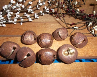 """1"""" Rusty Metal Bells set of 8 Primitive Supplies"""