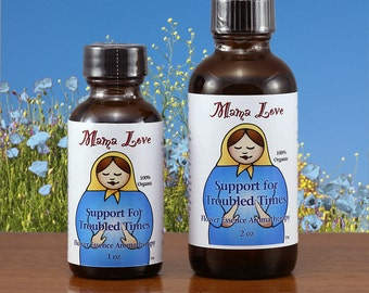Support for Troubled Times, Grief or Loss, Organic Flower Essence Aromatherapy, Body, Bath, Massage Oil with Reiki, Stress Reduction, Spa