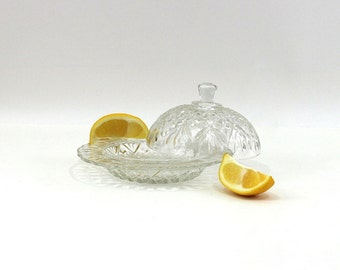 1940s Butter Dish | Round Pattern Glass Covered Dish