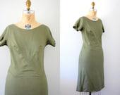 60s linen dress / Vintage 60s Miss Elliette Olive Green Linen Shift Dress