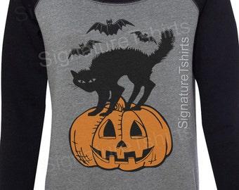 Halloween sweatshirt - Black cat Bats Pumpkin Off the Shoulder - Womens Sweatshirt - Halloween party sweater - Slouchy Sweatshirt
