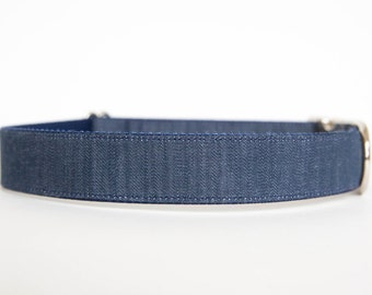 Dark Chambray Dog Collar