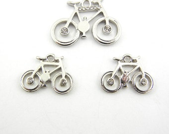 Set of Silver-tone Bicycle Pendant and Charms