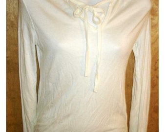 SALE vintage white stretch knit neck tie long sleeve top SMALL - MEDIUM