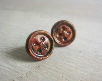 Hypoallergenic Red and Brass Patina Button Earrings - Handpainted Resin Studs - Round - titanium posts