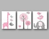 Baby room Decor Elephant nursery art giraffe nursery wall art Baby Girl Nursery Decor tree bird pink and gray nursery - Set of three prints