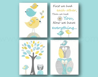 Aqua yellow blue and gray Nursery Art Baby nursery wall art First we had each other Quote kids art Birds nursery Owl nursery Set of 4 prints