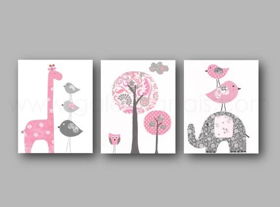 Baby room decor elephant nursery art giraffe by galerieanais - Habitaciones bebe gris ...