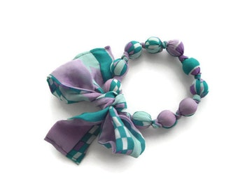 lavender blue Handmade vintage silk scarf necklace fashion accessory by handcraftusa