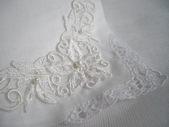 White Irish Wedding keepsake hankerchief boquet wrap Shower handmade with vintage aplique and shamrock crochet work handmade by handcraftusa
