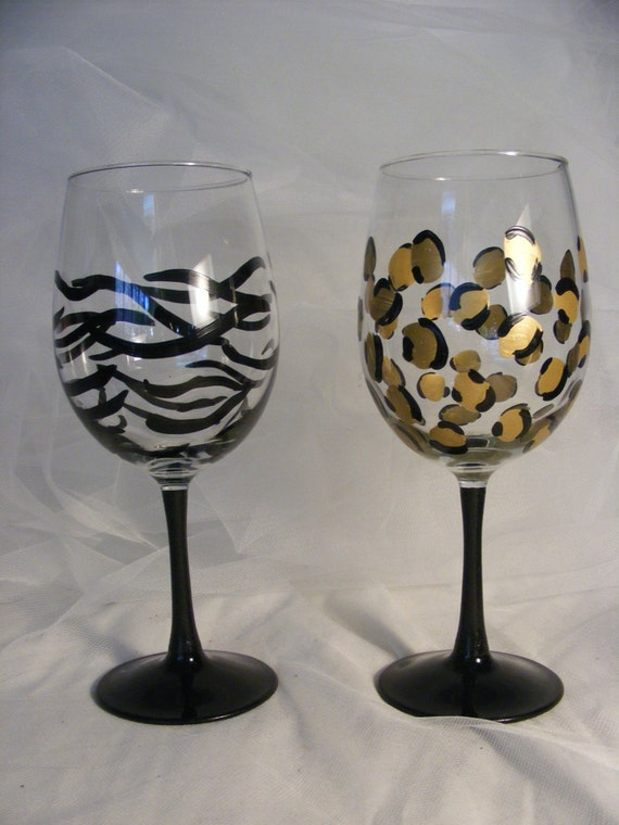 Items Similar To Animal Print Wine Glasses In Leopard And