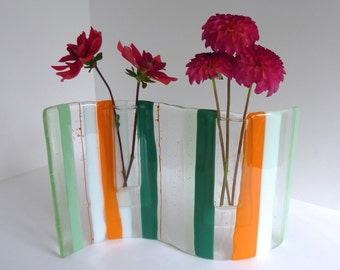 Fused Glass Wave Pocket Vase in Green, Orange, White and Clear