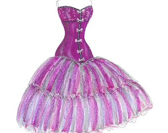 Purple watercolor bustier dress fashion illustration- Fashion wall art- Fashion sketch- Girls room decor-Teen bedroom art