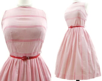 Vintage 50s Dress Pink Gingham Stripe Full Skirt Picnic Spring Summer Cotton Day M L
