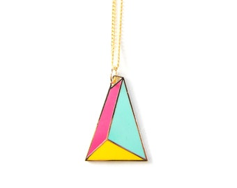 Pyramid Enamel Enamel Geometric Unique Modern Graphic Design Gold Art Deco Necklace