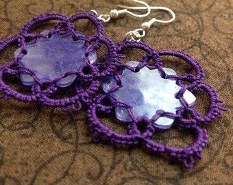 Needle Tatted Earrings - Dark Purple