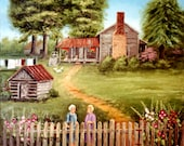 Blanton Place Two Women Gossiping Country Scene Fence Old Farm House Clothes Line Green Trees Flowers Folk Art by Arie Reinhardt Taylor
