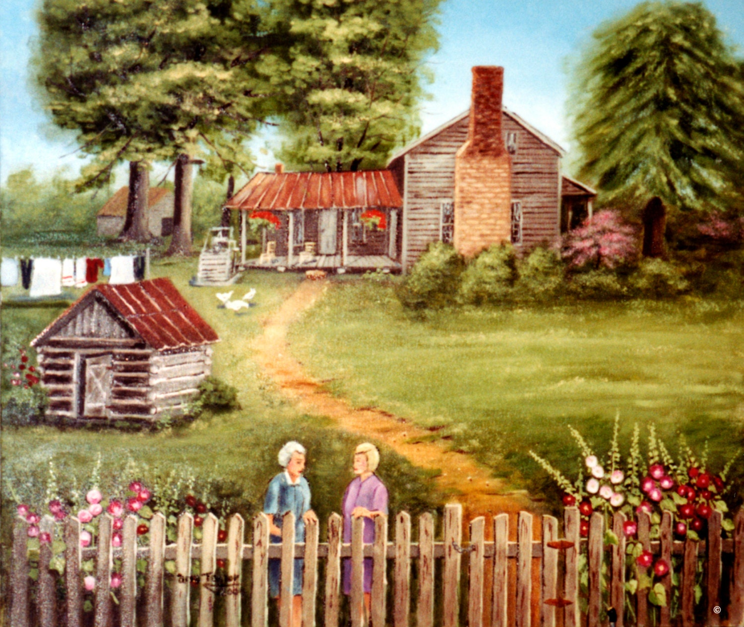 Two Women Print Country Painting American Folk Art Old Farm