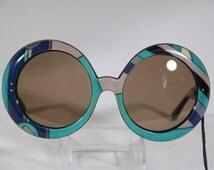 Authentic EMILIO PUCCI Vintage Blue oversized Round sunglasses Signature Print MP